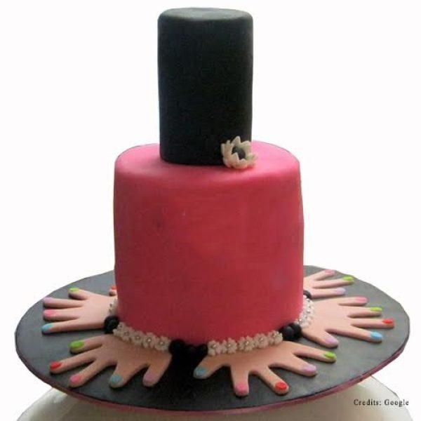 Admirable Nail Polish Cake Online Fondant Makeup Theme Cakes In Pune Funny Birthday Cards Online Inifodamsfinfo